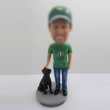 Custom man with dog personalized bobbleheads