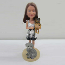 girl with pets bobbleheads custom