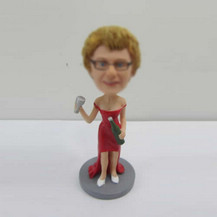 Personalized custom red dress bobbleheads