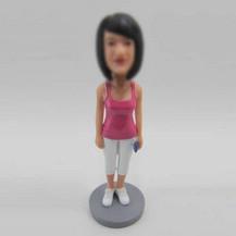 Personalized custom Morning exercise girl bobbleheads
