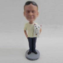 Customized Dad and cat bobbleheads