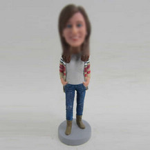 Customized female with boots bobbleheads