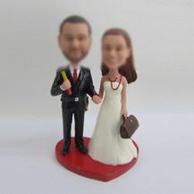 Personalized custom sweet wedding cake bobbleheads