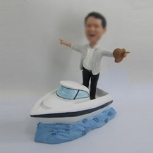 Personalized bobbleheads man and Yacht