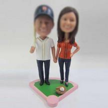 Personalized custom sports couple bobbleheads