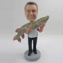 Custom man with big fish bobble heads