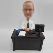 Custom man in office bobble head