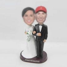 customized happiness wedding cake bobblehead dolls