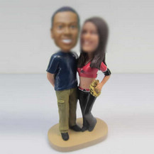 Personalized custom sweet couple bobbleheads