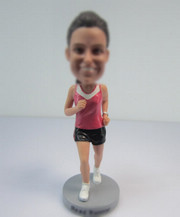 Customized female Runners bobble heads