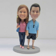 Personalized custom sweet couple bobble heads