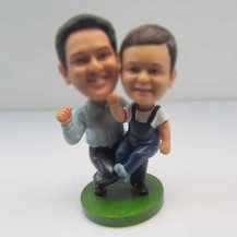 Customized Dad and Son bobbleheads