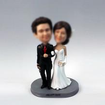 Personalized custom Masquerade wedding cake bobbleheads