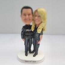 Personalized custom police couple wedding cake bobbleheads