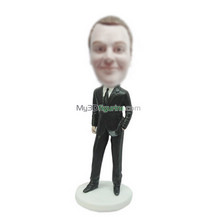 Personalized custom black suit male bobbleheads