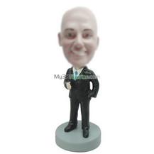 Personalized custom black suit bobble heads