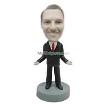 Personalized custom black suit bobblehead dolls