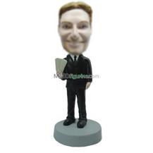 Personalized custom black suit bobblehead doll