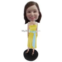 Personalized custom yellow dress girl bobbleheads