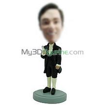 custom black suit bobble head
