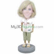 Personalized custom female baseball bobble head