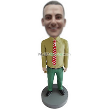 custom Red and white striped tie bobbleheads