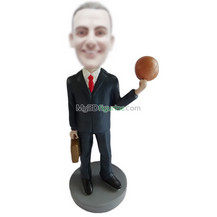 Personalized custom black suit with basketball bobbleheads