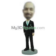 Personalized custom black suit bobbleheads