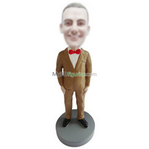 Personalized custom brown suit bobbleheads