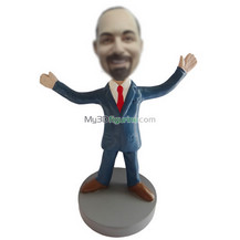 Personalized custom blue suit bobbl eheads