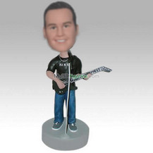 Personalized custom man and guitar bobblehead