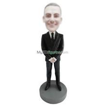 Personalized custom black suit male bobble heads