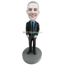 Personalized custom black suit male bobblehead