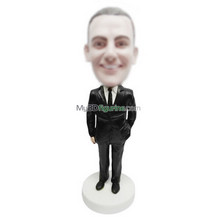 custom black suit man bobble heads