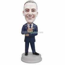 custom black suit man bobble head
