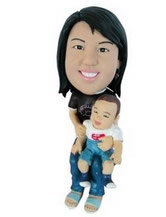 Custom Bobblehead Woman and Child