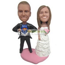 super groom in black suit and bride in white wedding dress bobbleheads
