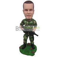 soldier in army uniform holding a machine gun bobbleheads