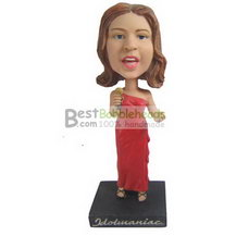 singing woman in red long dress bobbleheads