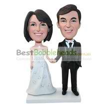 custom beautiful bride and handsome bridegroom bobbleheads