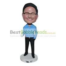custom blue shirt office man bobbleheads