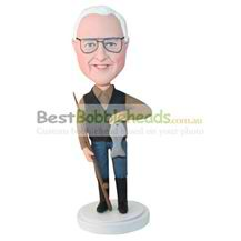 custom fisher with fish and fishing rod in hands bobbleheads