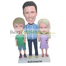 custom made children and father bobbleheads family bobbleheads