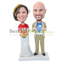 custom made couple bobbleheads with jerseys