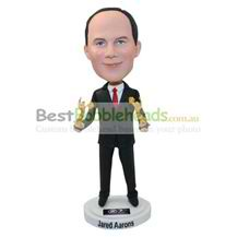 custom man in suit with angle figurines bobbleheads