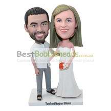 custom personalized couple bobbleheads wedding cake topper