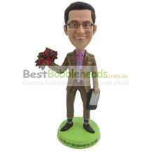 custom the yellow suit man with a bunch of flowers in his hand bobbleheads