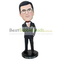 man with glasses in black suit bobblehead customized