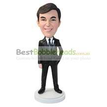 personalized custom businessman in a black suit bobbleheads