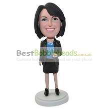 personalized custom businesswoman in skirt suit bobbleheads